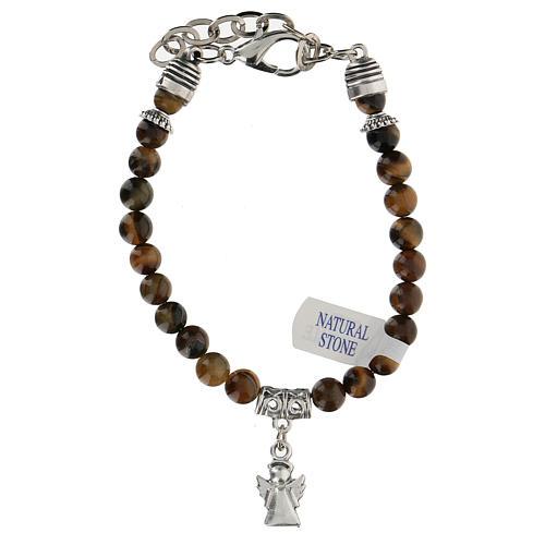 Bracelet avec breloque Ange Gardien et perles en Oeil de Tigre 1