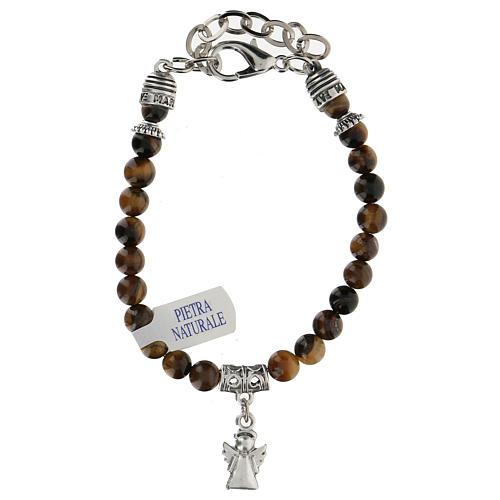Bracelet avec breloque Ange Gardien et perles en Oeil de Tigre 2