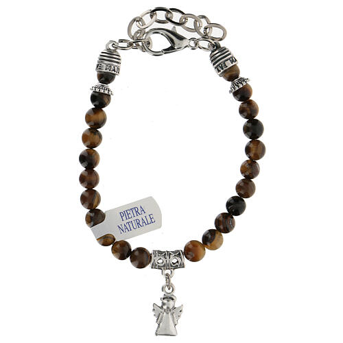 Guardian angel charm bracelet in Tiger's eye stone 2