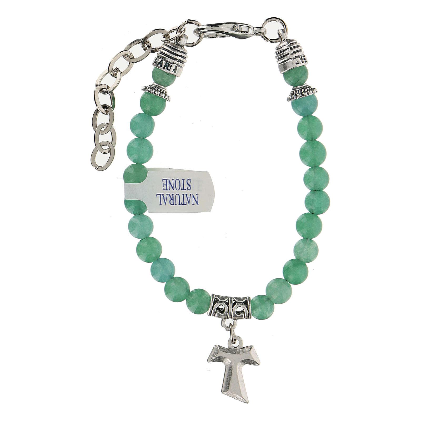Bracciale con perline in pietra di Giada e ciondolo Croce Tau 4