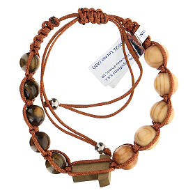 Decade rosary bracelet with Tau, wood 5 mm s2