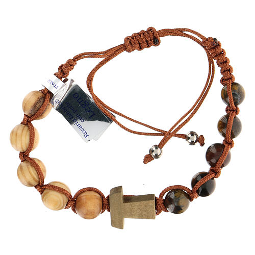 Decade rosary bracelet with Tau, wood 5 mm 1