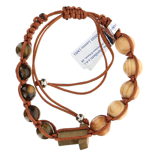 Decade rosary bracelet with Tau, wood 5 mm 2
