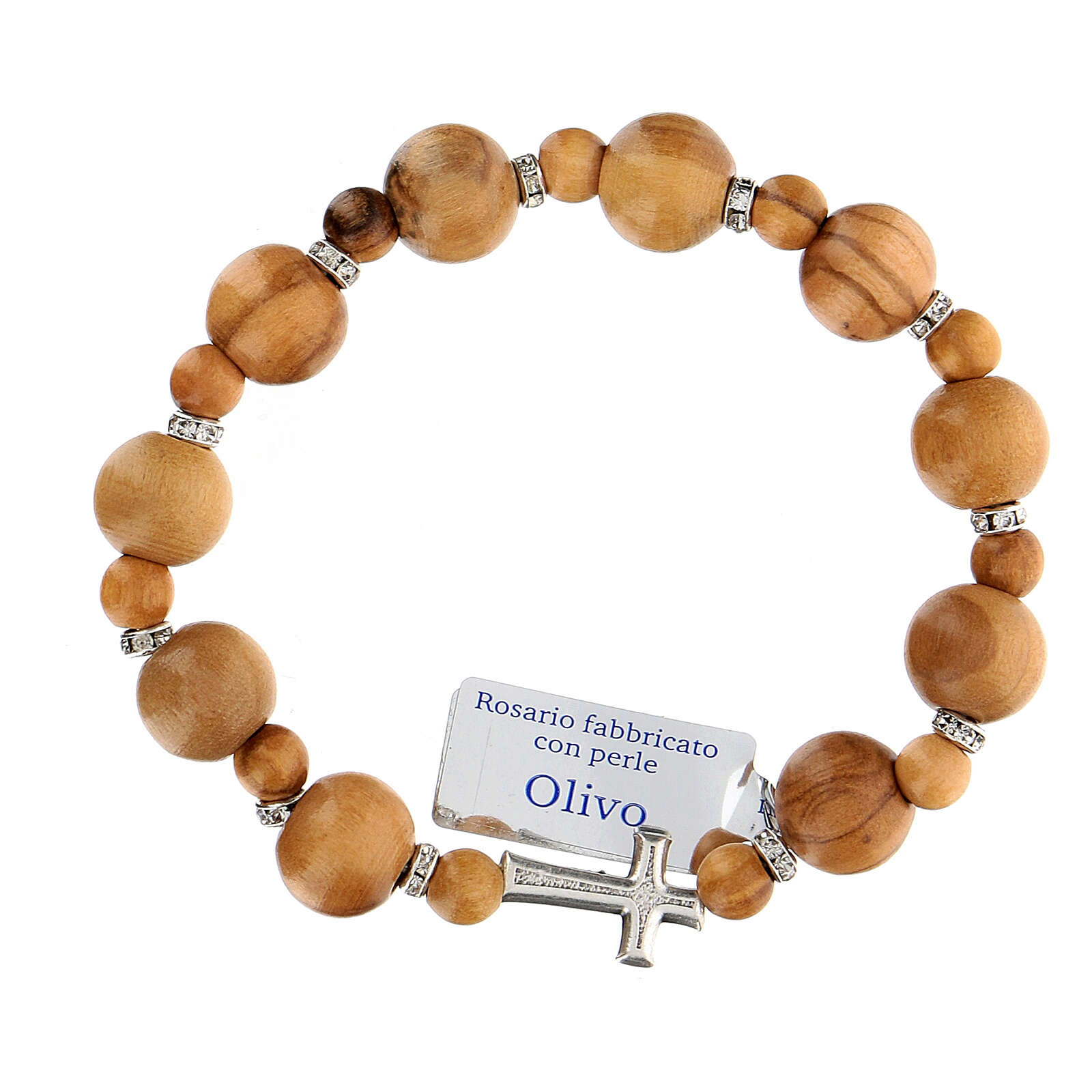 Ten-bead elasticised bracelet in olive tree wood 7 mm 4