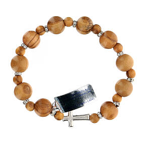 Ten-bead elasticised bracelet in olive tree wood 7 mm s2