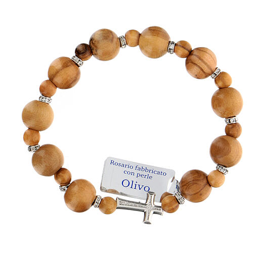 Ten-bead elasticised bracelet in olive tree wood 7 mm 1