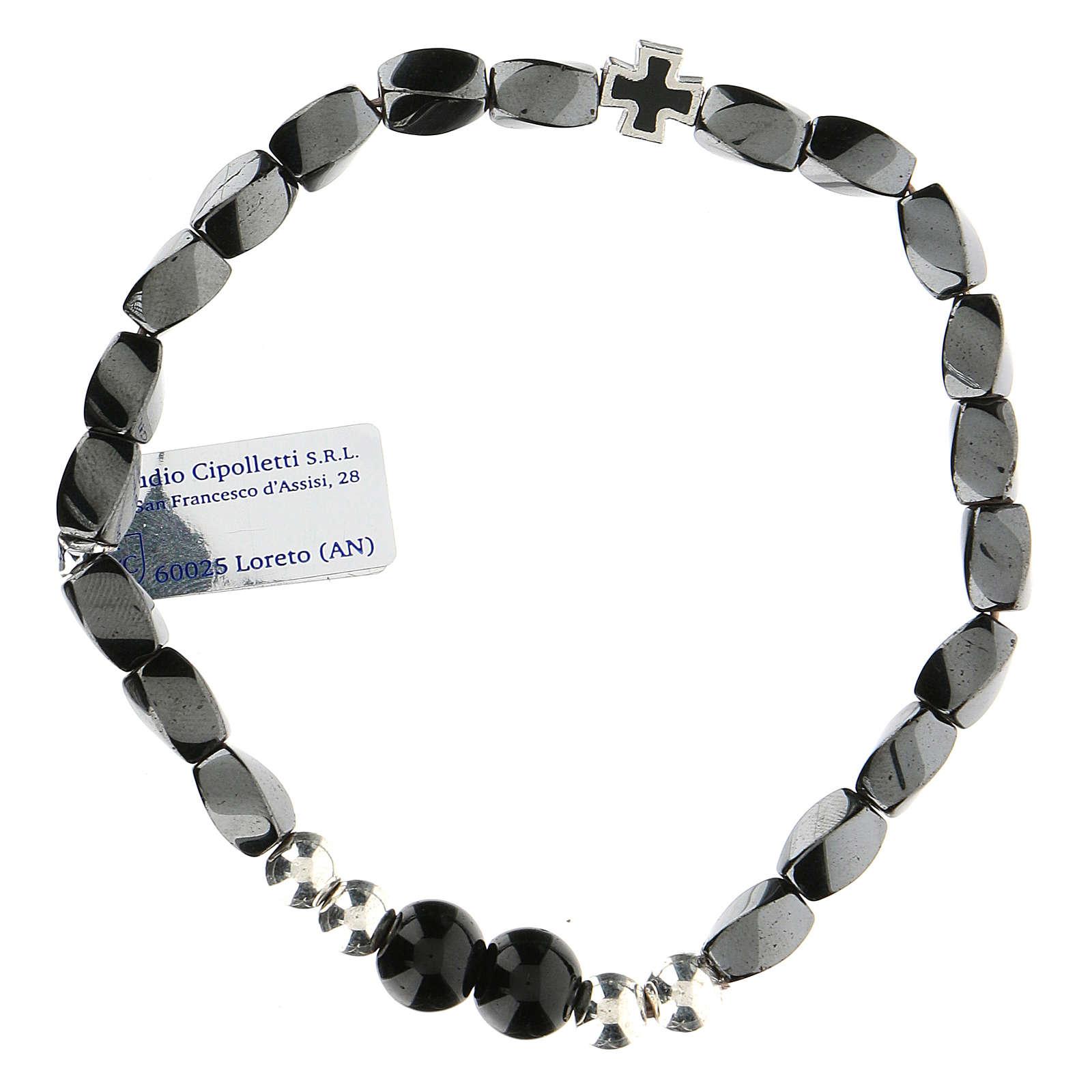 Bracciale elasticizzato in ematite nero grani 3 mm 4