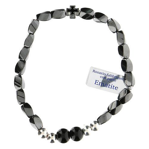 Bracciale elasticizzato in ematite nero grani 3 mm 1