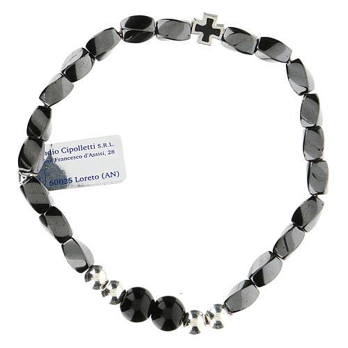 Bracciale elasticizzato in ematite nero grani 3 mm 2