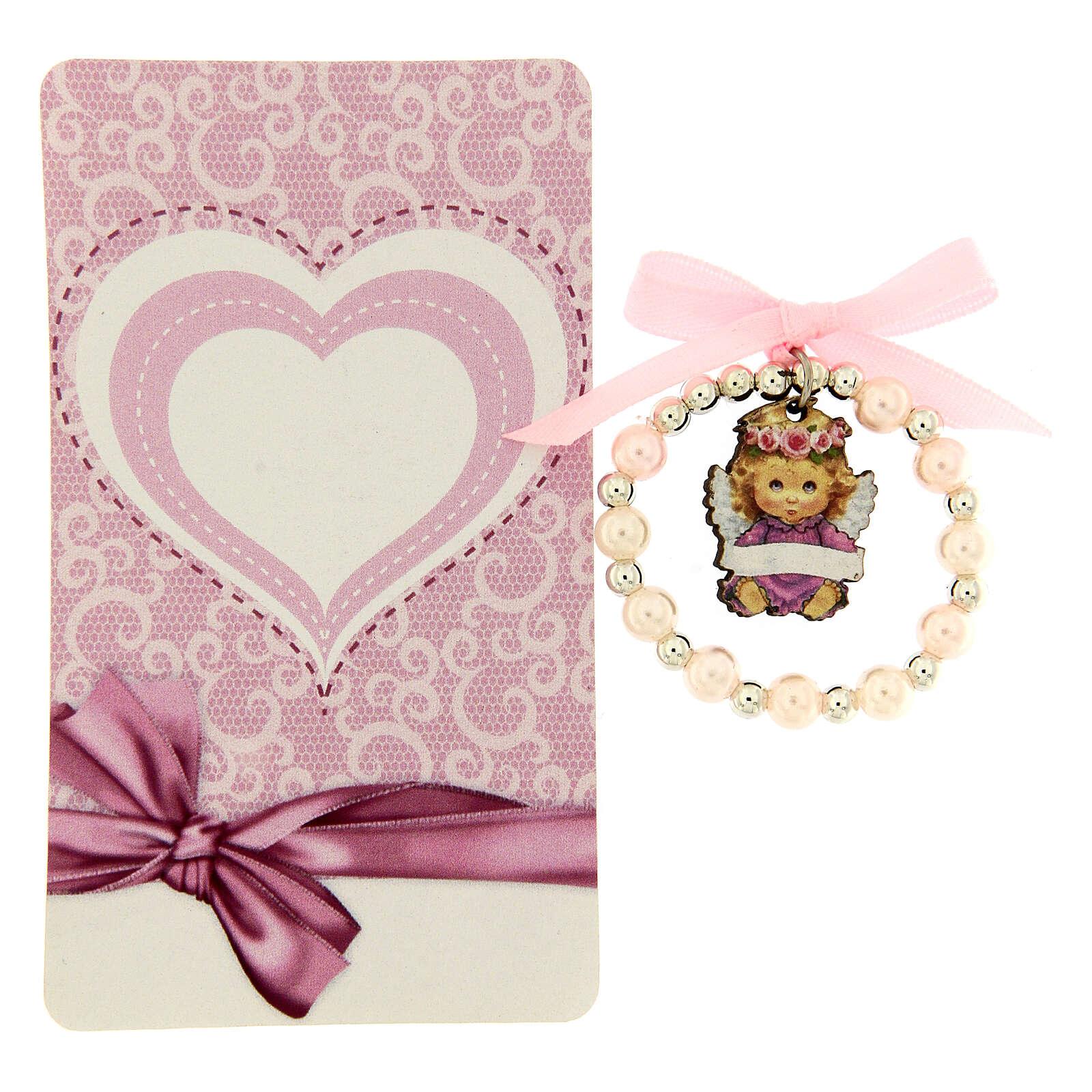Pulsera decena vidrio perlado angelito madera moño rosa 4