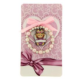 Pulsera decena vidrio perlado angelito madera moño rosa s1