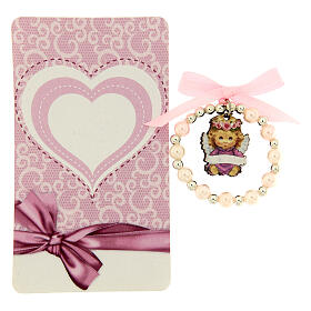 Pulsera decena vidrio perlado angelito madera moño rosa s2