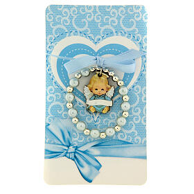 Pulsera angelito madera decena vidrio perlado moño azul s1