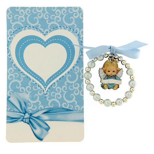 Pulsera angelito madera decena vidrio perlado moño azul 2
