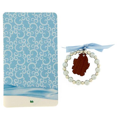 Pulsera angelito madera decena vidrio perlado moño azul 3