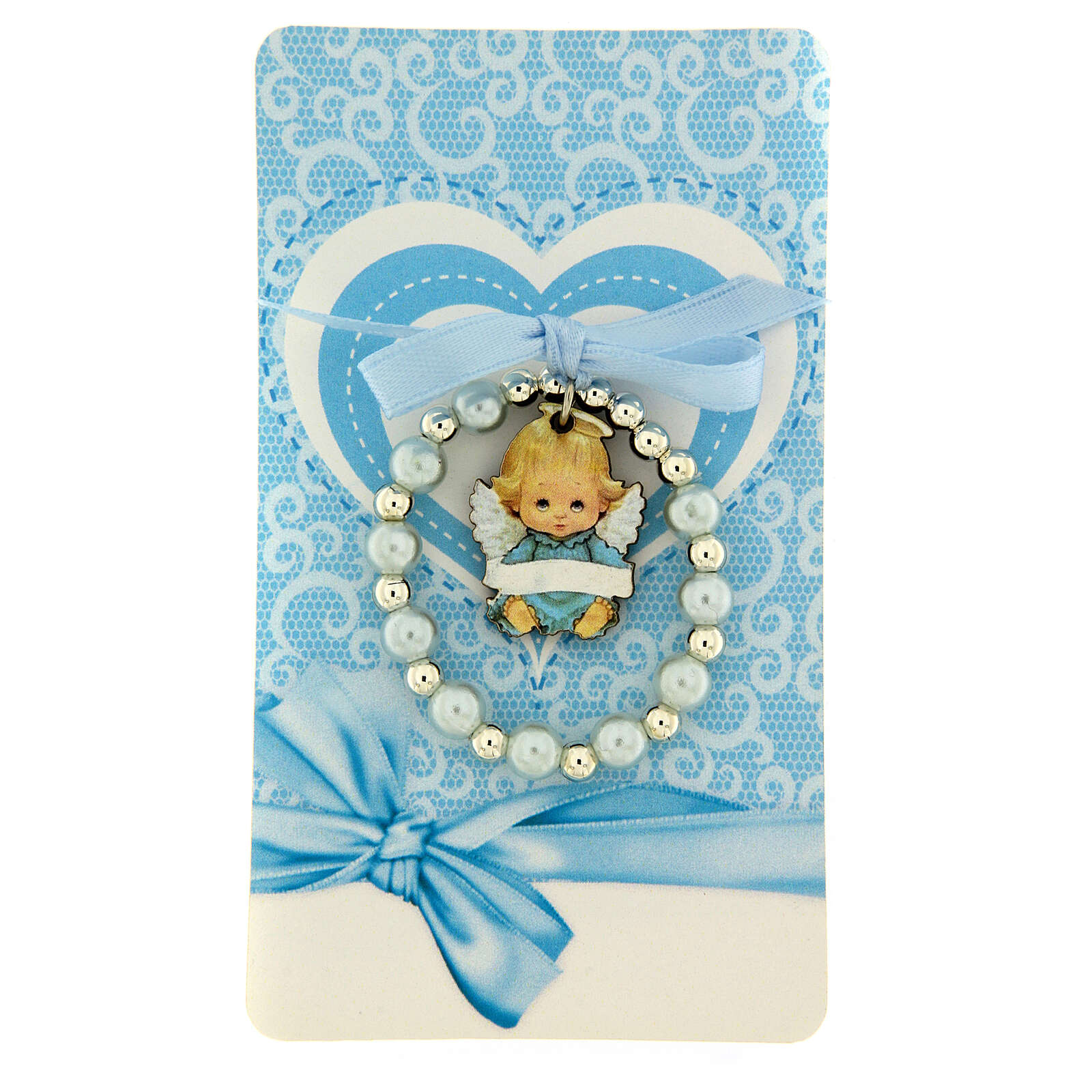 Pearl rosary bracelet with wooden angel blue bow 4