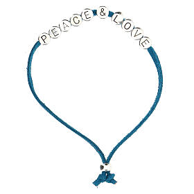 Bracelet Peace and Love alcantara turquoise s1