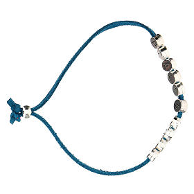 Bracelet Peace and Love alcantara turquoise s3
