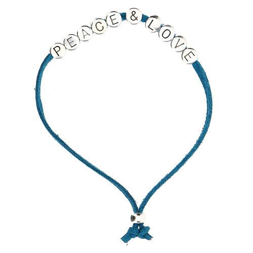 Bracelet Peace and Love alcantara turquoise 1