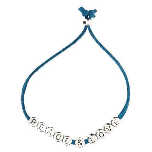 Bracelet Peace and Love alcantara turquoise 2