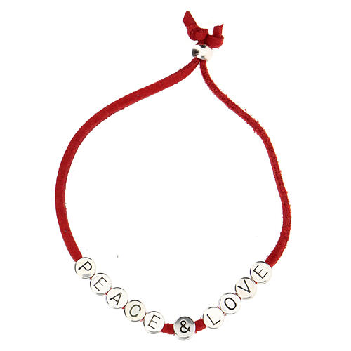 Pulsera Peace and Love alcántara roja 2