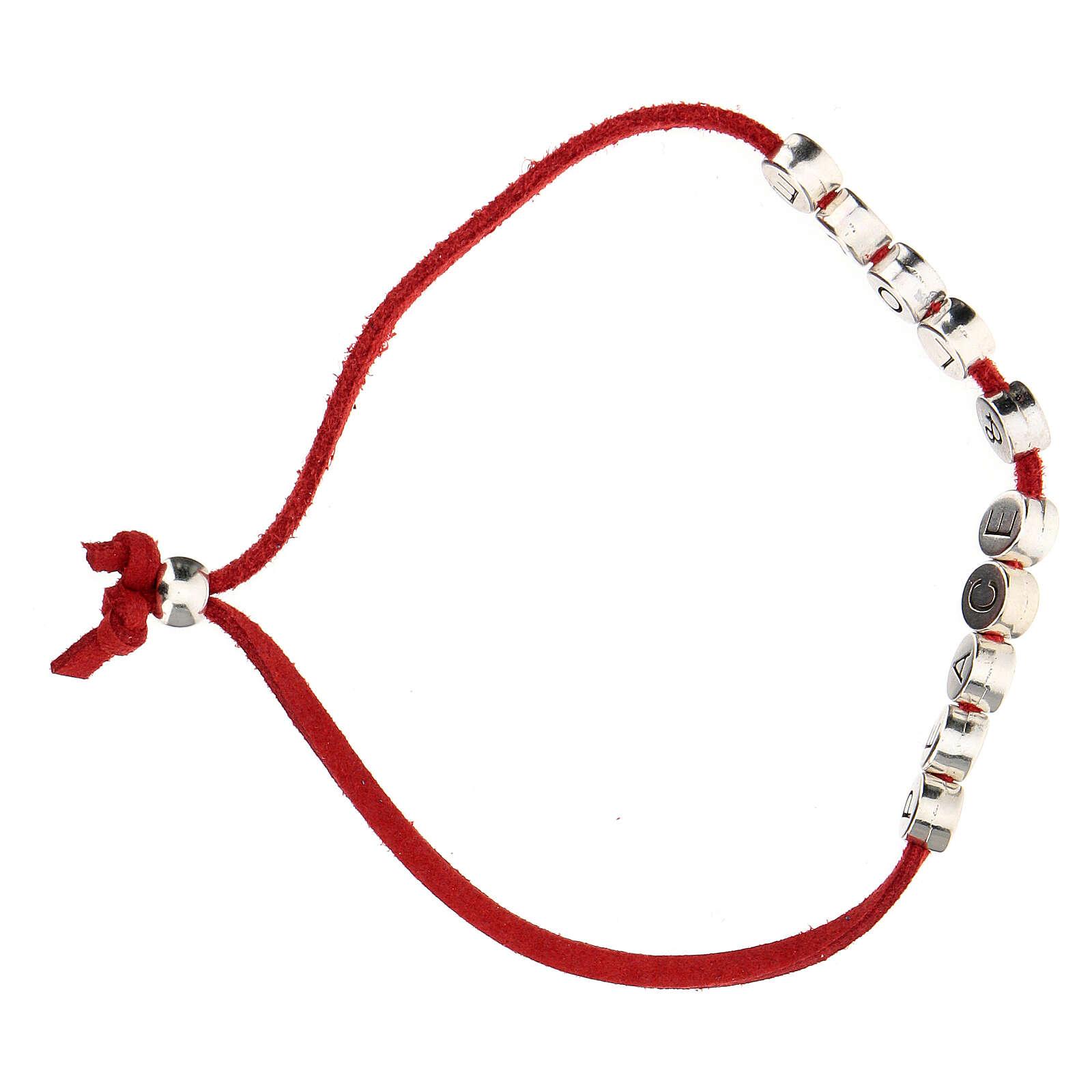 Bracelet Peace and Love alcantara rouge 4