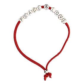 Bracciale Peace and Love alcantara rosso s1