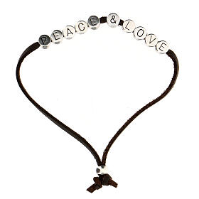Bracelet Peace and Love alcantara marron s1