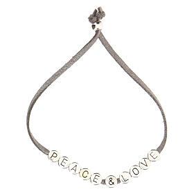 Bracelet Peace and Love alcantara gris s2