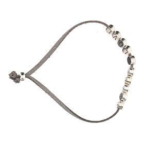 Bracelet Peace and Love alcantara gris s3