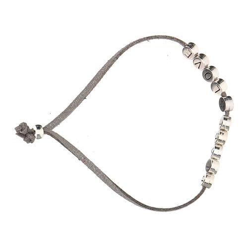 Bracelet Peace and Love alcantara gris 3