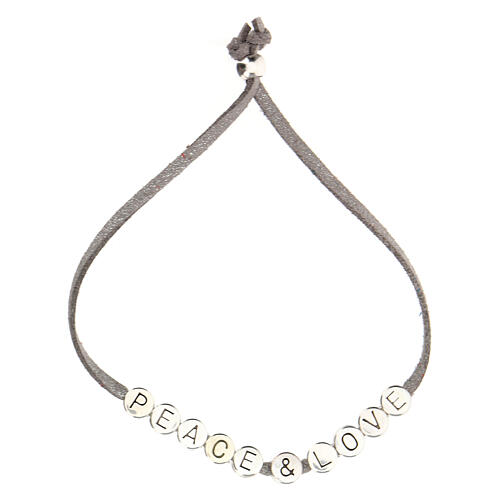 Peace and Love bracelet grey alcantara 2