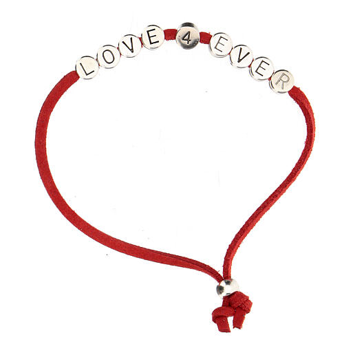 Bracelet Love 4 Ever alcantara rouge 1