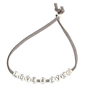 Bracelet Love 4 Ever alcantara gris s2