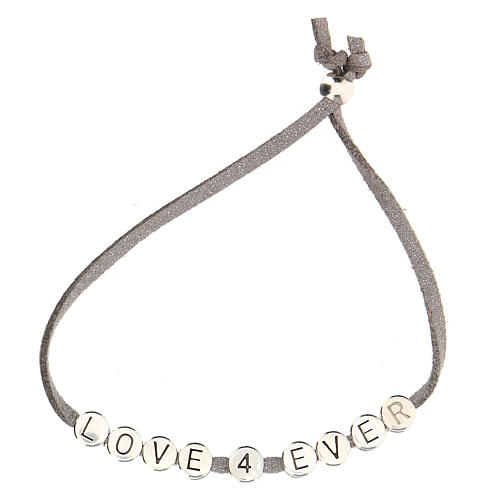 Bracelet Love 4 Ever alcantara gris 2