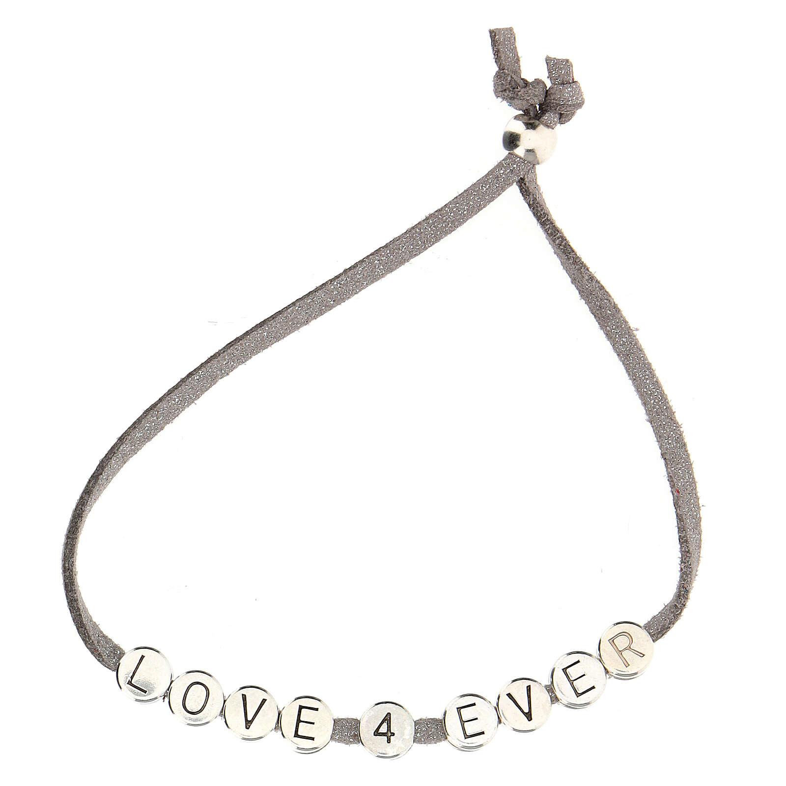 Love 4 Ever bracelet, in grey alcantara zamak 4