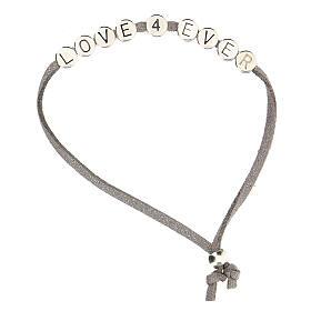 Love 4 Ever bracelet, in grey alcantara zamak s1