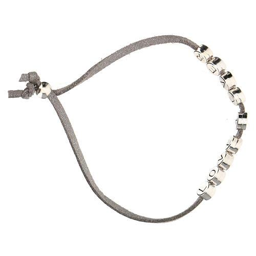 Love 4 Ever bracelet, in grey alcantara zamak 3