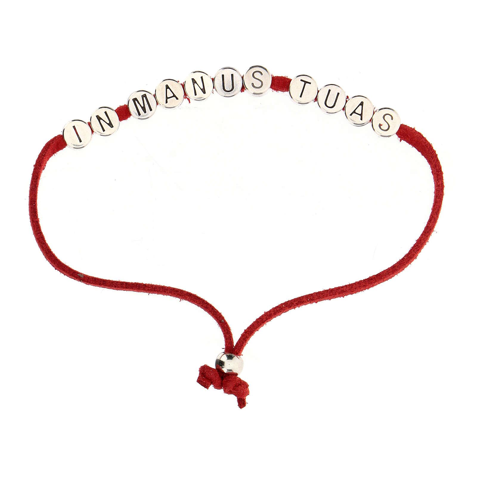 Bracelet rouge In Manus Tuas alcantara zamak 4