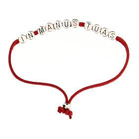 Bracelet rouge In Manus Tuas alcantara zamak s1
