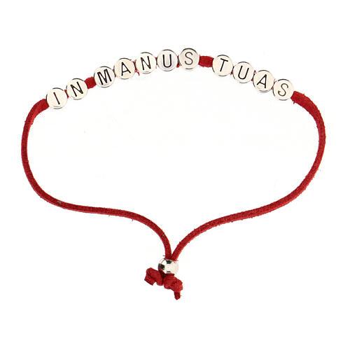 Bracelet rouge In Manus Tuas alcantara zamak 1