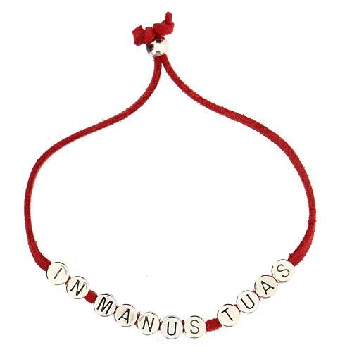 Bracelet rouge In Manus Tuas alcantara zamak 2