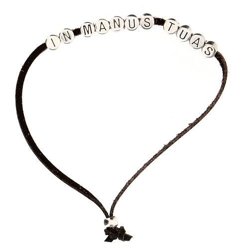 Bracelet marron In Manus Tuas alcantara zamak 1