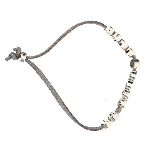 Bracelet gris In Manus Tuas alcantara zamak 3