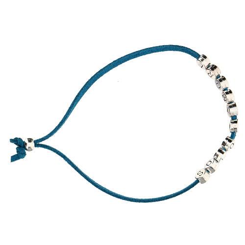 Bracelet alcantara turquoise Solo X Amore zamak 3