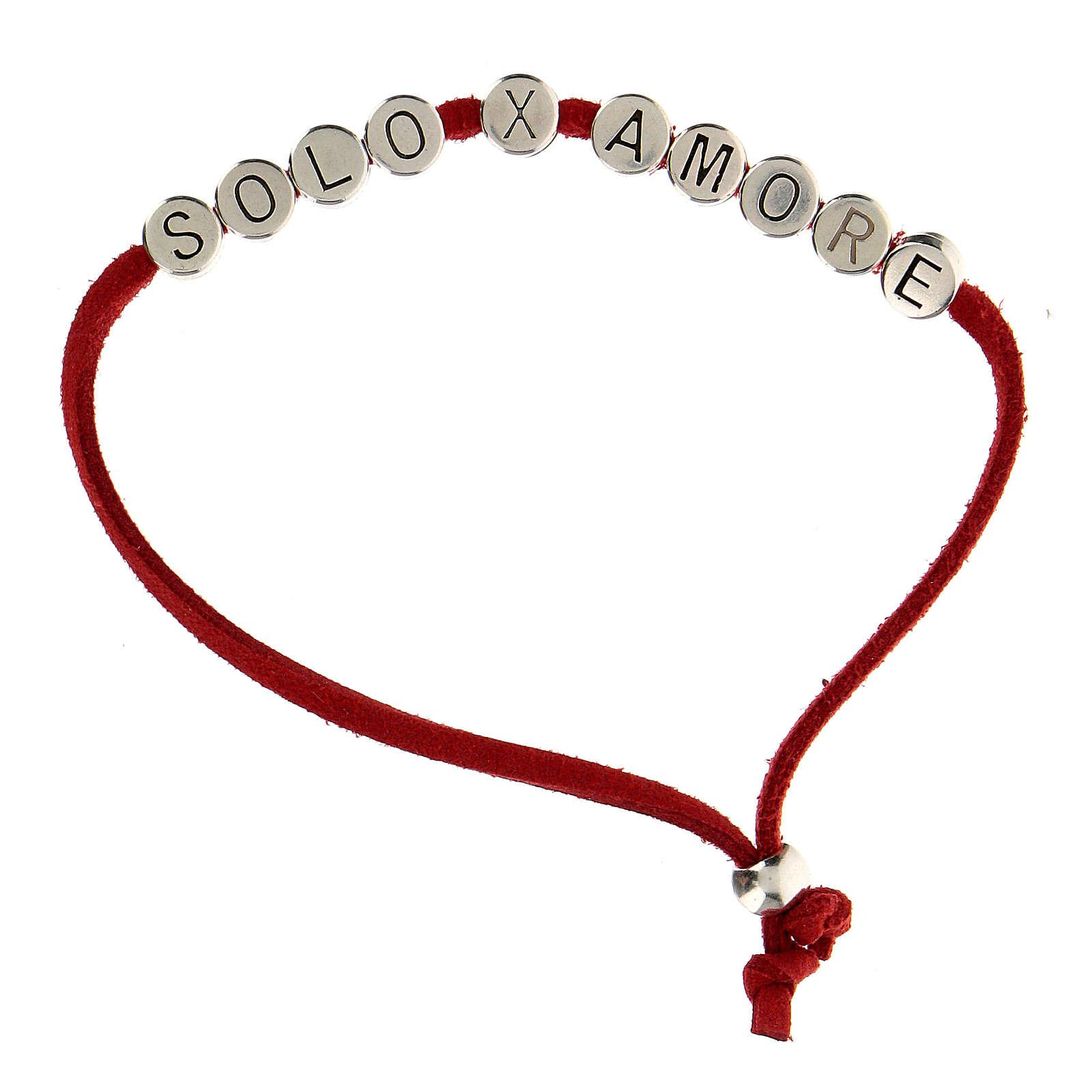 Bracelet alcantara rouge Solo X Amore zamak 4
