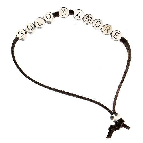 Bracelet alcantara rouge Solo X Amore zamak 1