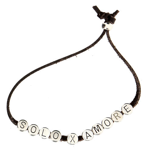 Bracelet alcantara rouge Solo X Amore zamak 2