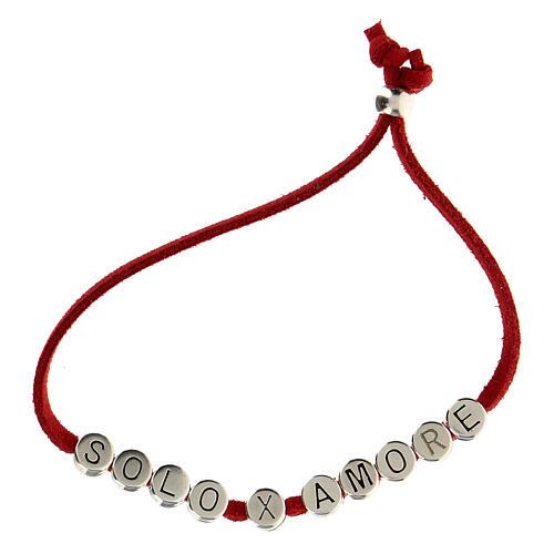 Bracelet alcantara rouge Solo X Amore zamak 5
