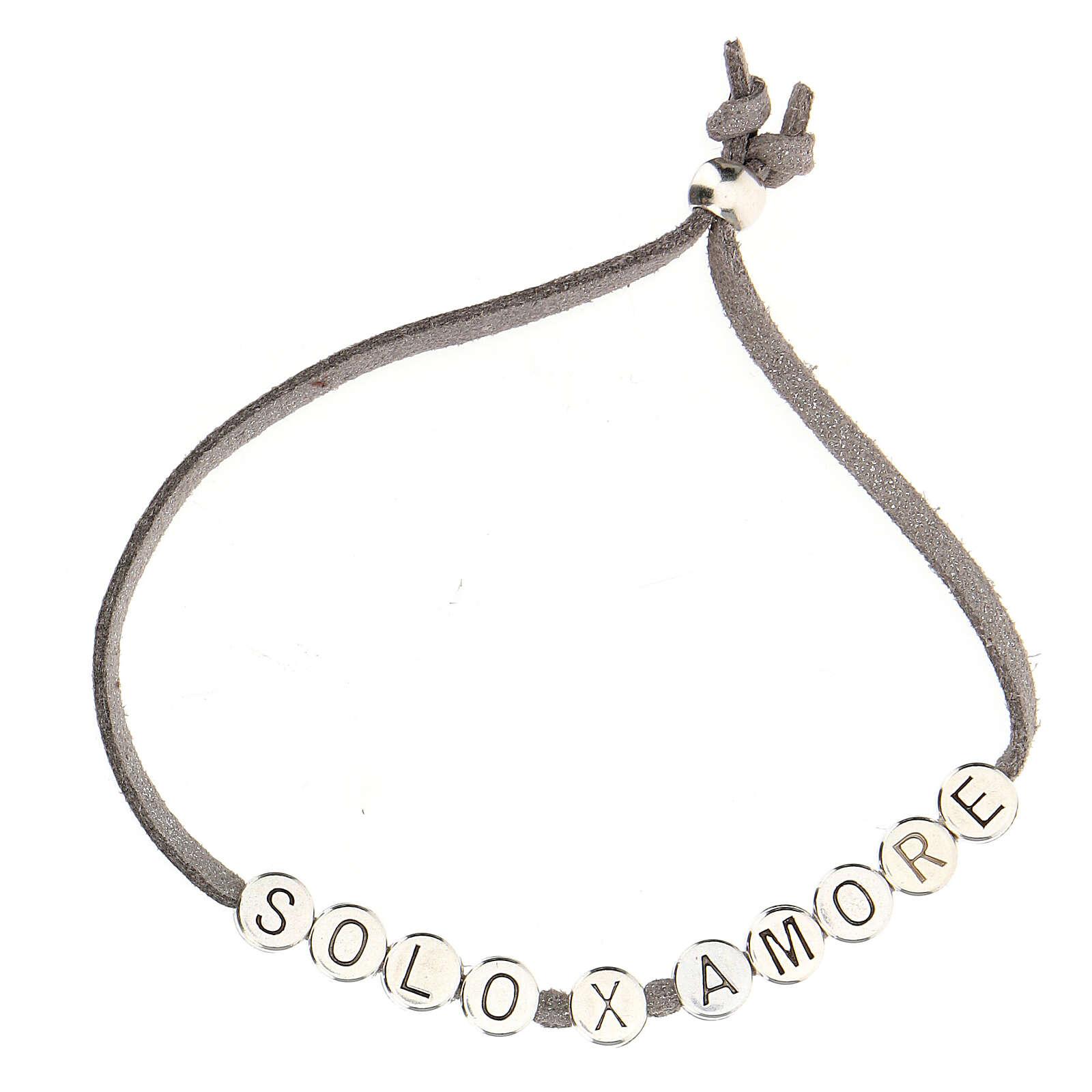 Bracelet alcantara gris Solo X Amore zamak 4